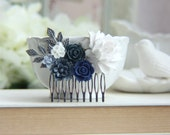Wedding Comb Navy Blue Pearl Leaf Comb Beige Cream Unique Flower Comb Vintage Rustic Blue Ivory Wedding Something Blue Comb Bridesmaids Gift