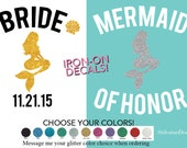 Mermaid bride iron on decal, Mermaid of Honor Iron On Letters, Heat Transfer for T Shirt tank top bridal beach wedding party