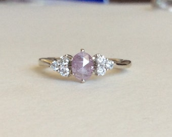 Natural pink purple diamond  ring solid 14k white gold rose cut .59cttw