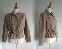 Chic 80s Safari Style Tan Jacket - Vintage Brown Tweed Jacket with Drawstring Waist - Vintage 1980s Jacket M