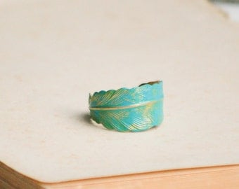 Feather Ring Turquoise Ring Blue Green Feather Rustic Boho Jewelry Adjustable Ring Woodland Wedding Gift for Her Gift for Him Leaf Ring