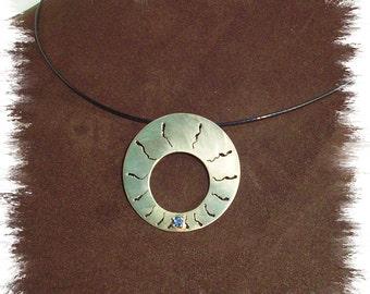 Shibuichi Necklace with Sapphire