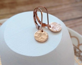 Hammered Rose Gold Earrings, Coin Earring, Rose Gold Leverback, Minimal Rose Gold Jewelry, Everyday Rose Gold Earrings, 14k Rose Gold Fill