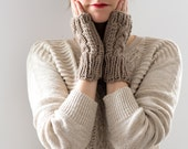 Knit Fingerless Gloves, Hand Knitted Fingerless Mittens, Cable Knit Tan Wool Winter Gloves, Winter Accessories