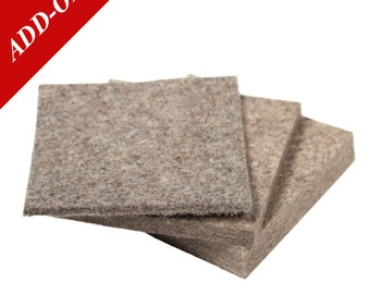 "Medium Density Industrial Wool Felt Samples - Natural Gray, SAE F7 Grade, 3"" x 3"", 1/8"" to 1/2"" Thicknesses Included, Add On Item"