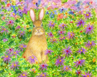 """art print of bunny painting  """"a rabbit and flowers"""" daisy drawing, watercolor artwork, A3 print A4, 8x10, 6x8"""