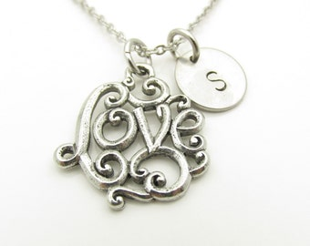 Love Necklace, Swirly Love, Silver Love Charm Necklace, Personalized, Initial Necklace, Love Word Necklace, Antique Silver, Monogram Y329