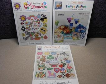 Destash - Over Easy Cross Stitch Pattern Books - Lot of Three