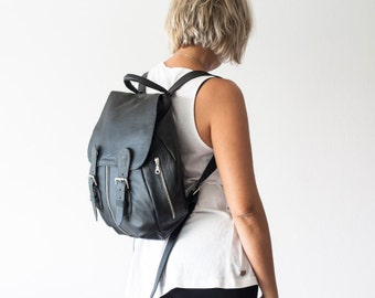 Leather backpack in black for women, travel backpack back bag daypack knapsack everyday large  - Artemis backpack