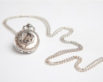 Pocket watch necklace clock necklace alice in wonderland pendant necklace gift silver rose necklace watch necklace