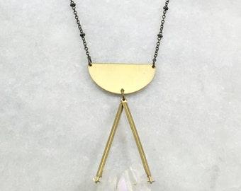 Brass Geometric Quartz Necklace | N21610