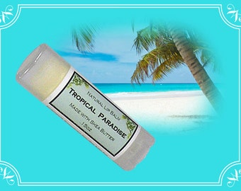TROPICAL PARADISE Lip Balm made with Shea Butter - .15oz Oval Tube