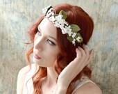 Bridal flower crown, leaf wreath, woodland headpiece, wedding headband, ivory floral crown, bohemian hair crown, wedding hair accessories