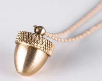 Long Gold Acorn Pendant Cremation Necklace, Mourning Jewelry Locket Canister, Acorn Necklace Living Locket, Ashes Pendant, Funeral Gift