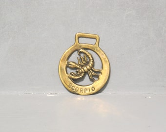Vintage Horse Brass Zodiac Sign Scorpio / Claws Sting Harness Plaque Equestrian Talisman, Astrology Medal Medallion Bags & Purses Making Fob