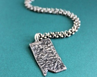 Large Rustic Silver Pendant, Mens Chain Necklace