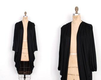 Vintage 1970s Jacket / 70s Draped Cocoon Cover Up / Black (S M L)