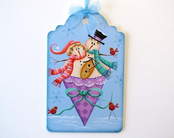 Snowmen in Cone Sign, Handpainted Large Wood Tag, Hand Painted Home Decor, Wall Art, Tole Decorative Painting, B4