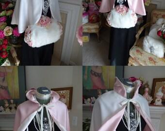 Lolita Bridal Cape Peter Pan Collar Waist-Length Reversible 18-inch Blush-Rose / Ivory Satin  No-Fur Wedding Cloak Handmade in USA