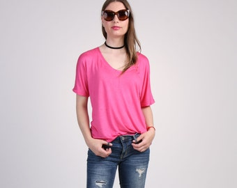 Pink V Neck Relaxing T-Shirt with Short Sleeve, Loose Summer Top,  Oversized T-Shirt, Pink Jersey T-Shirt, Dolman Sleeve Top