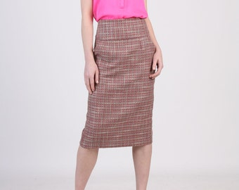 High Waist Pink Pencil Skirt with Pocket, Dusty Pink Skirt, Tailored Skirt, Straight Skirt, Office Skirt, Tweed Skirt, Spring Skirt