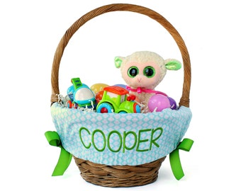 Personalized easter etsy personalized easter basket liner aqua quatrefoil basket not included personalized with name negle Image collections