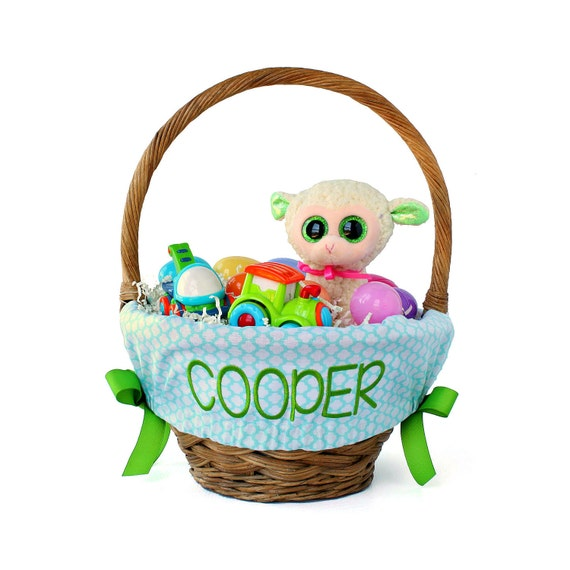 Personalized Easter Basket Liner Aqua By Ourlittlemesses