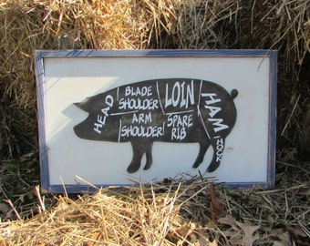 Pig Butcher Shop Sign | Pork Meat Cuts Perfect for your kitchen Wall Art | Painted Hanging Wood Sign