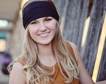Solid Headband Black Spandex Headwrap Wide Head Wrap Womens Head Scarf Adult Hair Band Black Athletic Head Wrap (#1001) S M L X