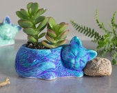 Kitty planter, ceramic succulent planter, handmade pottery planter, velvet purple blue Ceramic plant pot, cat lover gift - Made to Order