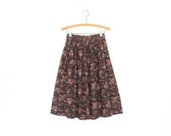 Vintage Floral Skirt * Midi Skirt * Pleated Skirt * Romantic Rose Skirt * XS