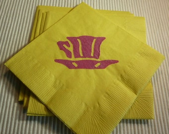 Yellow and Pink Tea Cup Paper Napkins - Cocktail/Luncheon/Dinner - Set of 24