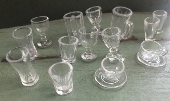 Miniature Glasses, Dollhouse Miniatures, 1:12 Scale, Kitchen Dining Glass Set, 14 Pcs, Style 7259, Dollhouse Accessories