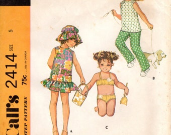 1970s Girls Bathing Suit Dress Pants & Hat - Vintage Pattern McCall's 2414 - Size 5