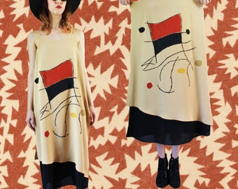 70's minimalist vintage abstract bauhaus maxi dress o/s s m l xl