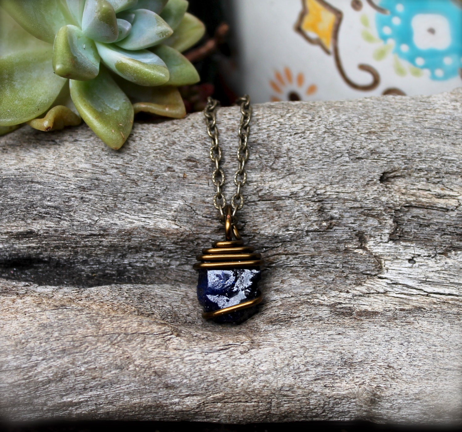 Sapphire Necklace Rough Stone Necklace Little Raw StoneUnpolished Sapphire Necklace