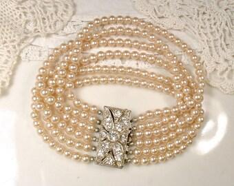 Original 1930 Art Deco Multi Strand Champagne Ivory Pearl Bridal Bracelet Ornate Silver Paste Rhinestone Silver Clasp Gatsby Vintage Wedding