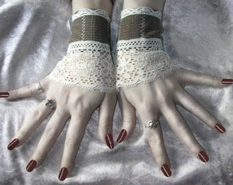 The Doctor's Daughter Fingerless Glove Wrist Cuffs Soft Brown Flannel Backed Suiting | Cream Lace | Victorian Chic Boho Edwardian Wedding