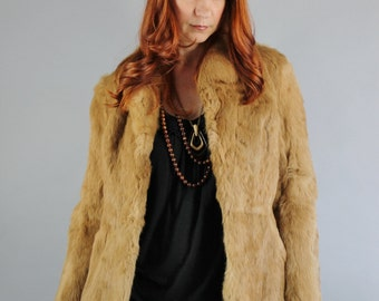 Vintage 70s Women's Caramel Brown Rabbit Fur Boho Coat Jacket // Winter Fur Coat // Hollywood Glamour