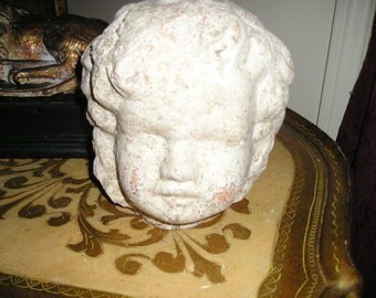 Wonderful Child/Putti Head/bust Plaster Architectural Salvage Shabby Chic Head Sculpture.