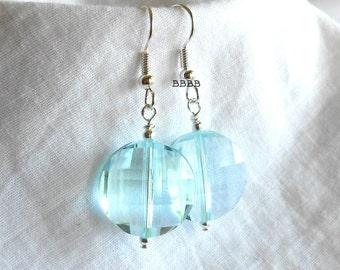 Ocean Breeze Blue Sparkle  Earrings Coin Earrings Beaded Earrings Drop Earrings Bright Silver Earrings Sparkle Earrings Faceted Earrings