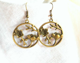 Flower Earrings Tree Branch Lotus Earrings Bronzed Earrings Hoop Earrings Open Charm Earrings Dangle Earrings Drop Earrings