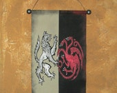 Hand Painted  House Stark & Targaryen Canvas Banner - R+L=J  - Ice and Fire - Game of Thrones - Cosplay Prop - Sigil - Wall Art - Sign
