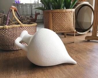 Vintage white southwestern vase, side laying pottery vase