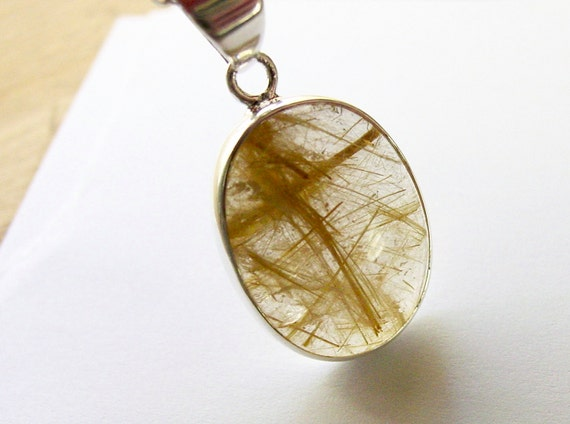 Rutile Quartz Necklace Sterling Silver