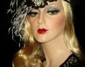 FLAPPER GONE WILD- Great Gatsby Headband, Art Deco Flapper Feather Headband, Black & White Flapper Feather Headband, Roaring 20s Headpiece