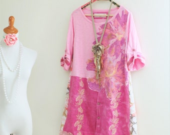 M Pink Floral dress Upcycled Boho Hippie clothes A-line Recycled eco friendly couture Wearable art handmade summer clothing by SaidoniaEco