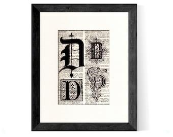 Letter D Monogrammed Intitial Art Print - Gift Home Office Decor