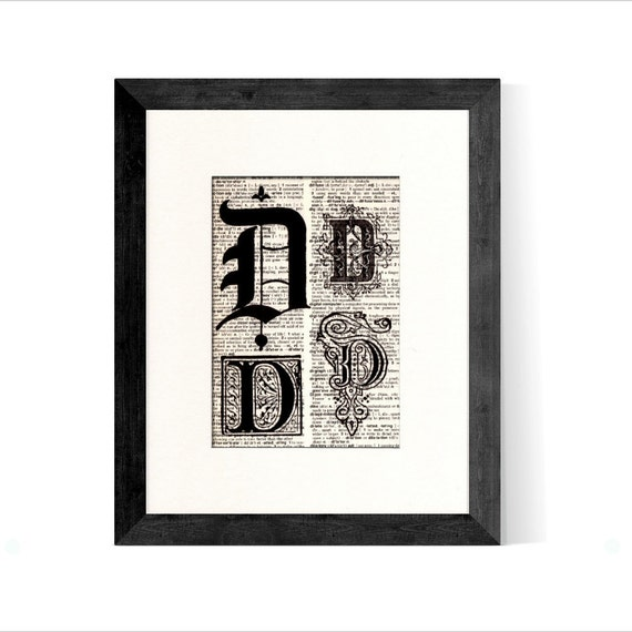 Letter D Monogrammed Initial Vintage Book Page Art Print  - Home Office Decor Art - Retirement Gift Graduation Gift Fathers Day