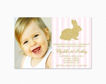 Gold Bunny Rabbit Birthday Party Invitation, Pink and White Stripes, Gold Glitter, Rabbit, Printable or Printed
